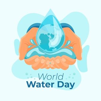 Handgetekende wereld water dag illustratie met handen en waterdruppel