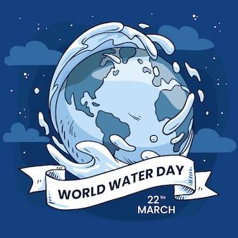 Handgetekende wereld water dag illustratie met planeet aarde