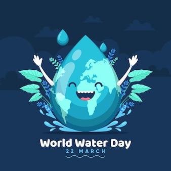 Handgetekende wereld water dag illustratie met planeet en waterdruppel