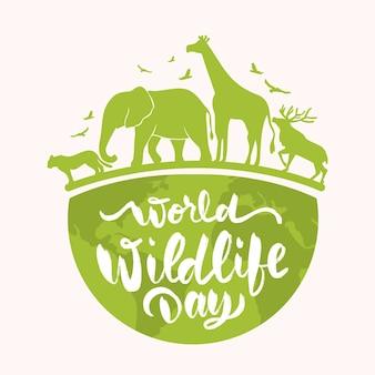 Handgetekende wereld wildlife dag illustratie