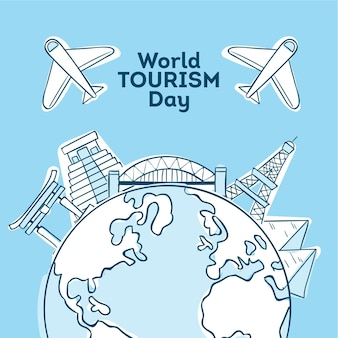 Handgetekende wereldtoerisme dagstijl