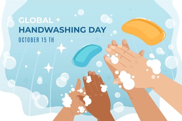 Handgetekende wereldwijde handwasdag achtergrond