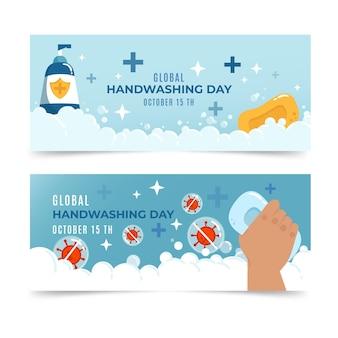 Handgetekende wereldwijde handwasdag banners set