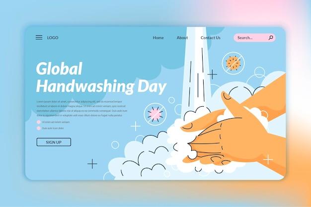 Handgetekende wereldwijde handwasdag bestemmingspaginasjabloon