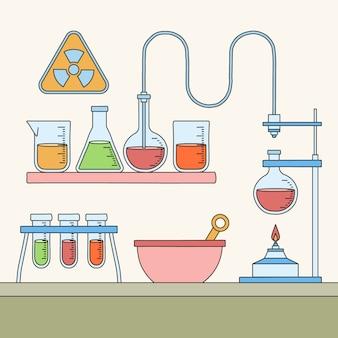 Handgetekende wetenschappelijk laboratorium