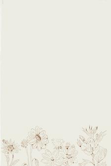 Handgetekende wilde bloemen met patroon op beige achtergrondsjabloon