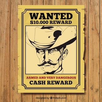 Handgetekende wilde poster van de misdadiger in vintage stijl