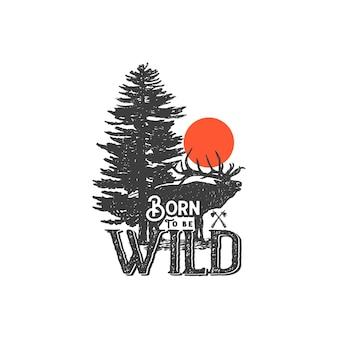 Handgetekende wildernis-badge en inspirerende letters