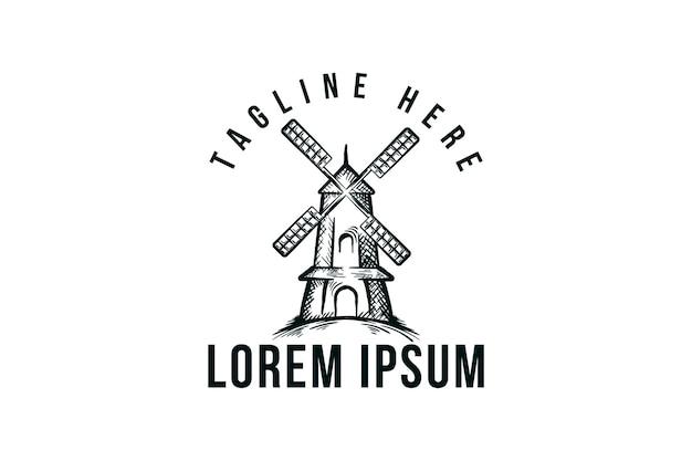 Handgetekende windmolen, vintage logo-ontwerp