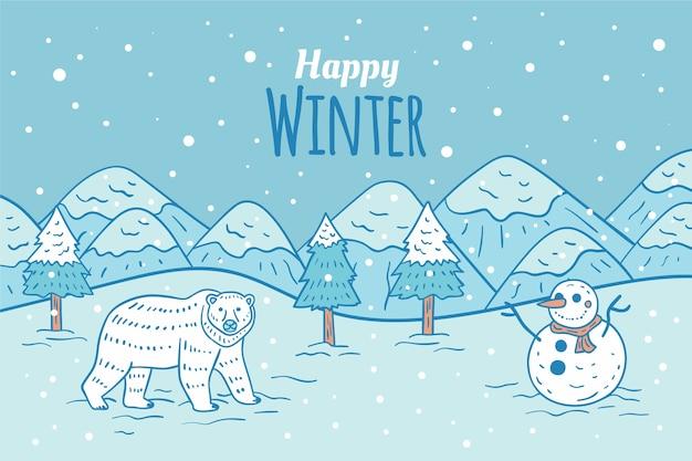 Handgetekende winter achtergrond