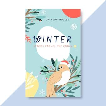 Handgetekende winter boek voorbladsjabloon