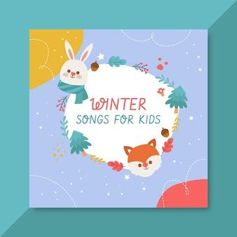 Handgetekende winter cd voorbladsjabloon