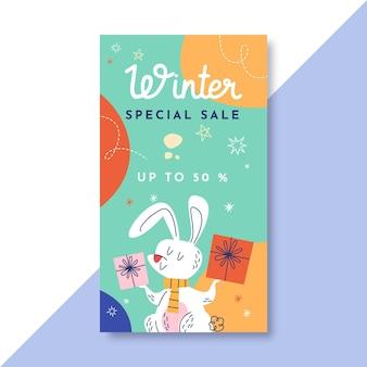 Handgetekende winter instagram verhaalsjabloon met konijn