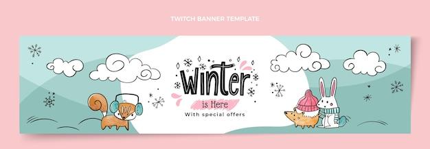 Handgetekende winter twitch banner