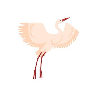 Handgetekende witte kraanvogel stijgt op