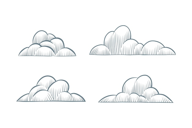 Handgetekende wolkencollectie graveren