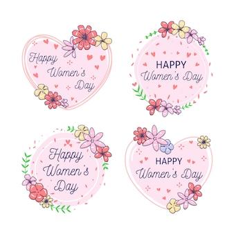 Handgetekende womens dag label collectie concept
