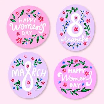 Handgetekende womens dag label collectie thema