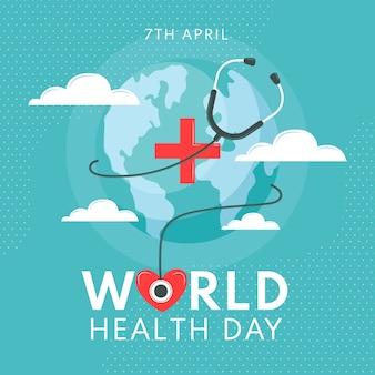 Handgetekende workd gezondheid dag thema