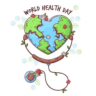 Handgetekende workd gezondheidsdag concept
