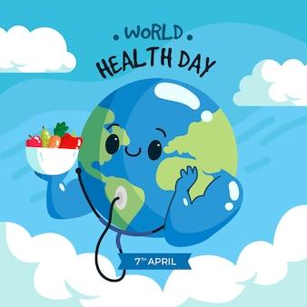 Handgetekende workd gezondheidsdag evenement