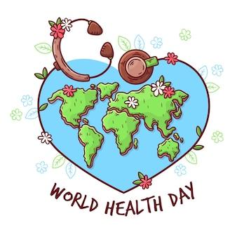 Handgetekende workd gezondheidsdag ontwerp