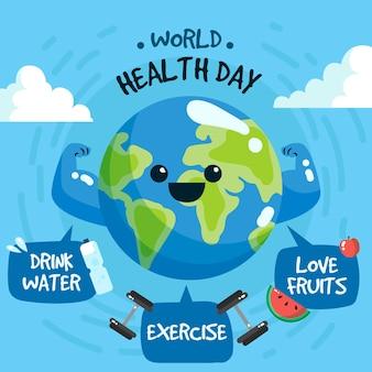 Handgetekende workd gezondheidsdag