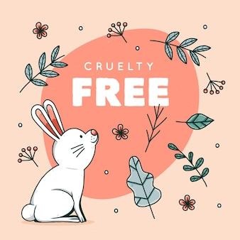 Handgetekende wreedheid gratis en veganistische illustratie