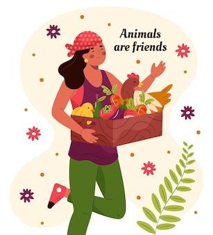 Handgetekende wreedheid-vrij en veganistisch concept met vrouw met mand met groenten