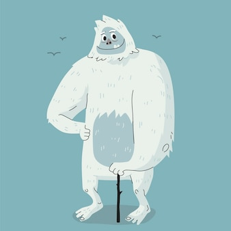 Handgetekende yeti verschrikkelijke sneeuwpop illustratie