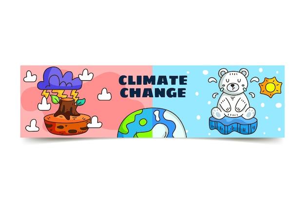 Handgetekende youtube-kanaalkunst over klimaatverandering