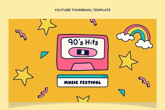 Handgetekende youtube-miniatuur van muziekfestival uit de jaren 90