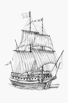 Handgetekende zeilboot