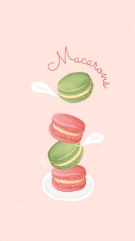 Handgetekende zoete macaron mobiele achtergrondsjabloon