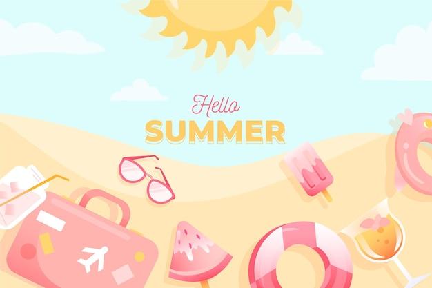 Handgetekende zomer achtergrondontwerp