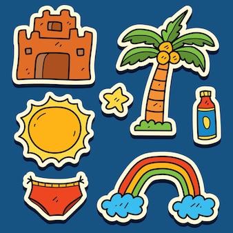 Handgetekende zomer doodle cartoon sticker ontwerp