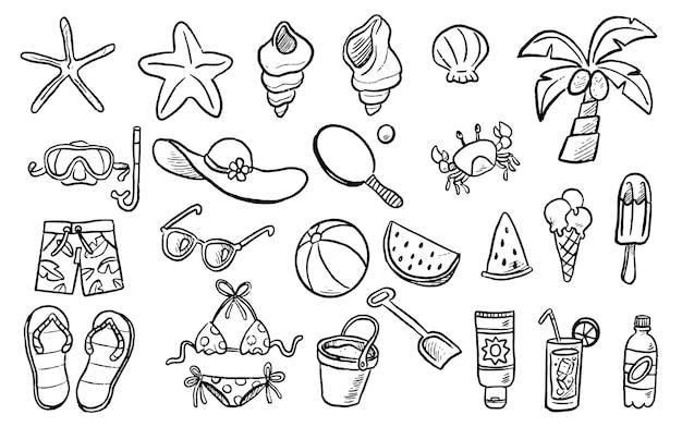 Handgetekende zomer doodles