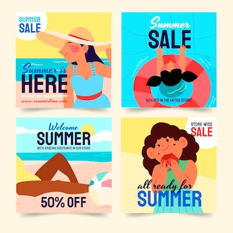 Handgetekende zomer instagram posts collectie