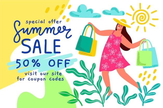 Handgetekende zomer verkoop ontwerp