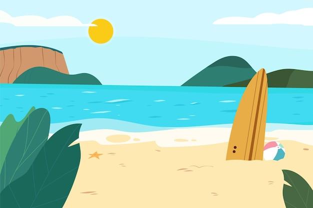 Handgetekende zomerachtergrond voor videogesprekken