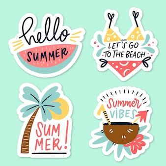 Handgetekende zomerlabels thema