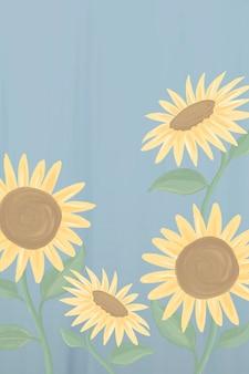 Handgetekende zonnebloem