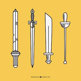 Handgetekende zwaarden vector