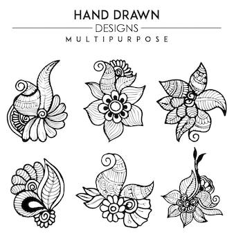 Handgetekende zwart-wit henna designs multipurpose