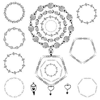 Handgetekende zwart-witte ringen pak