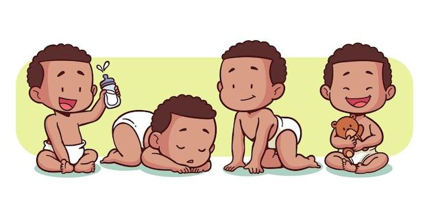 Handgetekende zwarte babycollectie