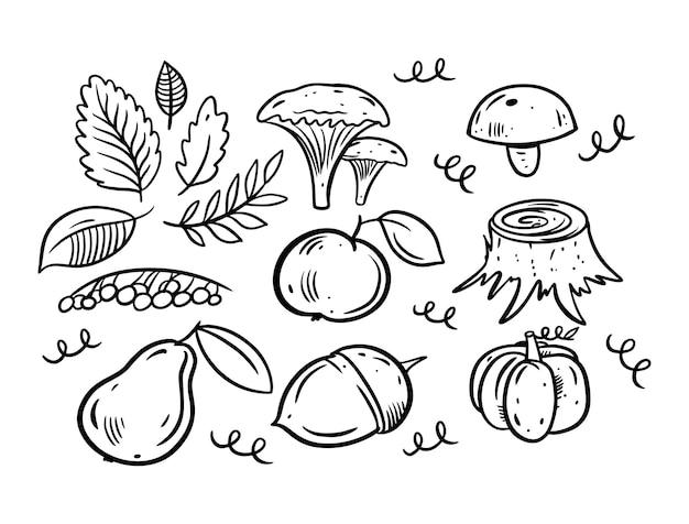 Handgetekende zwarte herfst herfst doodle elementen