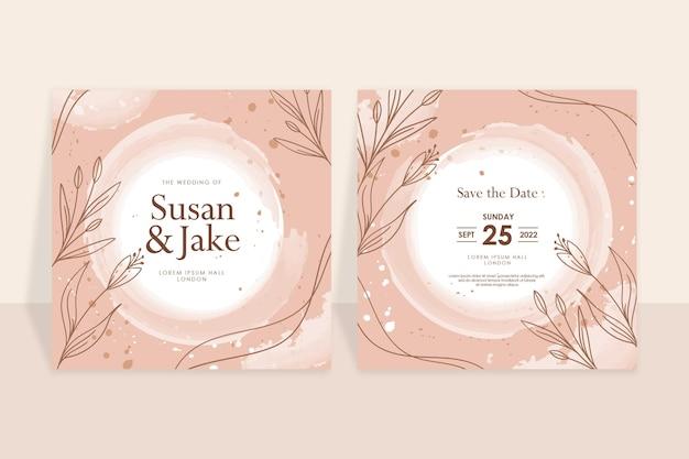 Handgetrokken bruine bloemen huwelijk uitnodiging aquarel achtergrond