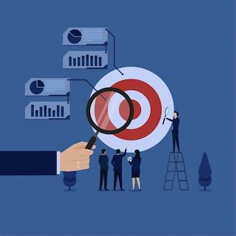 Handgreep overdrijven analyseren doel en grafiek metafoor van ontwikkeling en marktanalyse. zakelijke platte concept illustratie.
