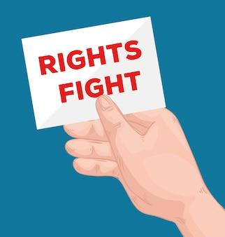 Handhefrechten vechten belettering in labelontwerp